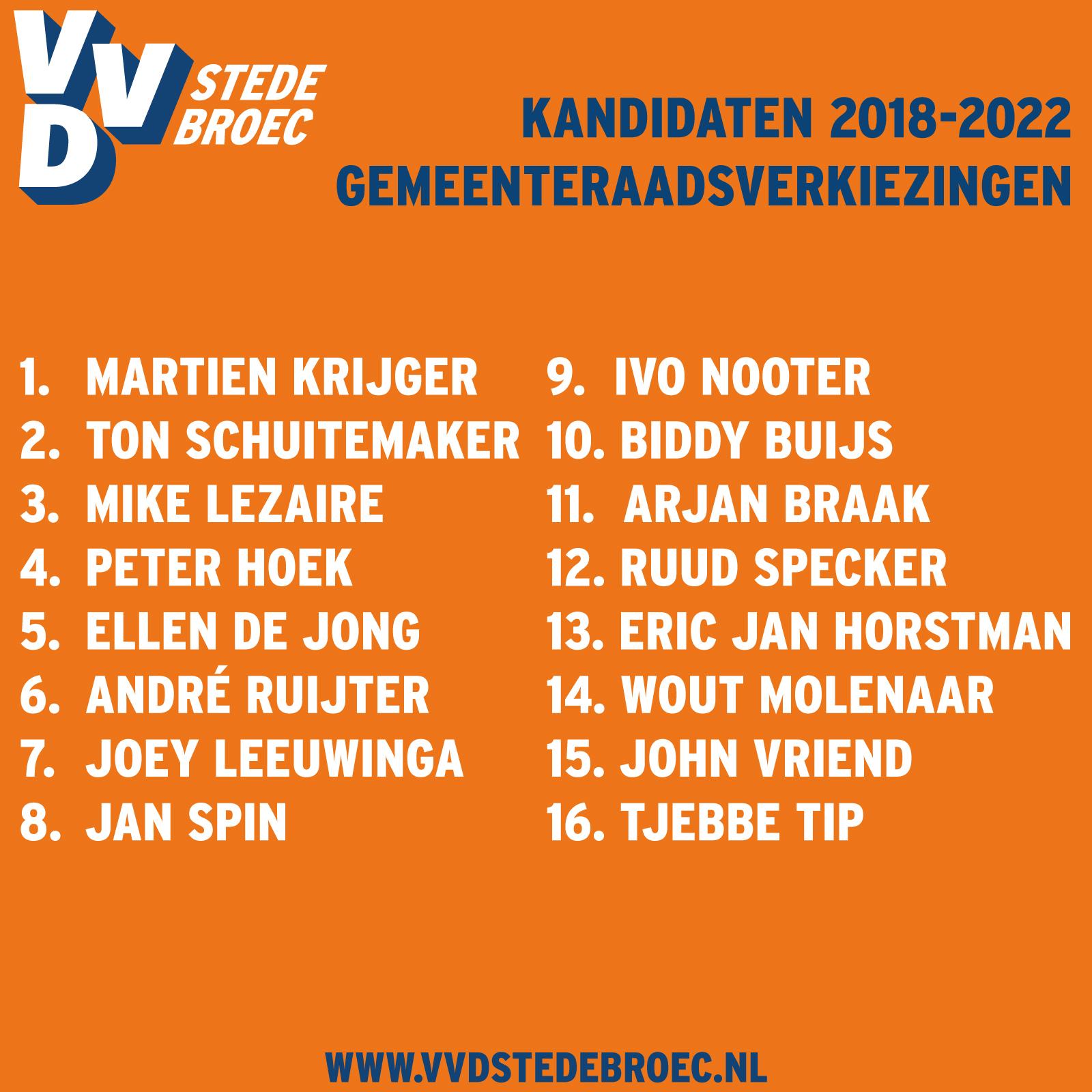 De kandidatenlijst van de VVD Stede Broec 2018